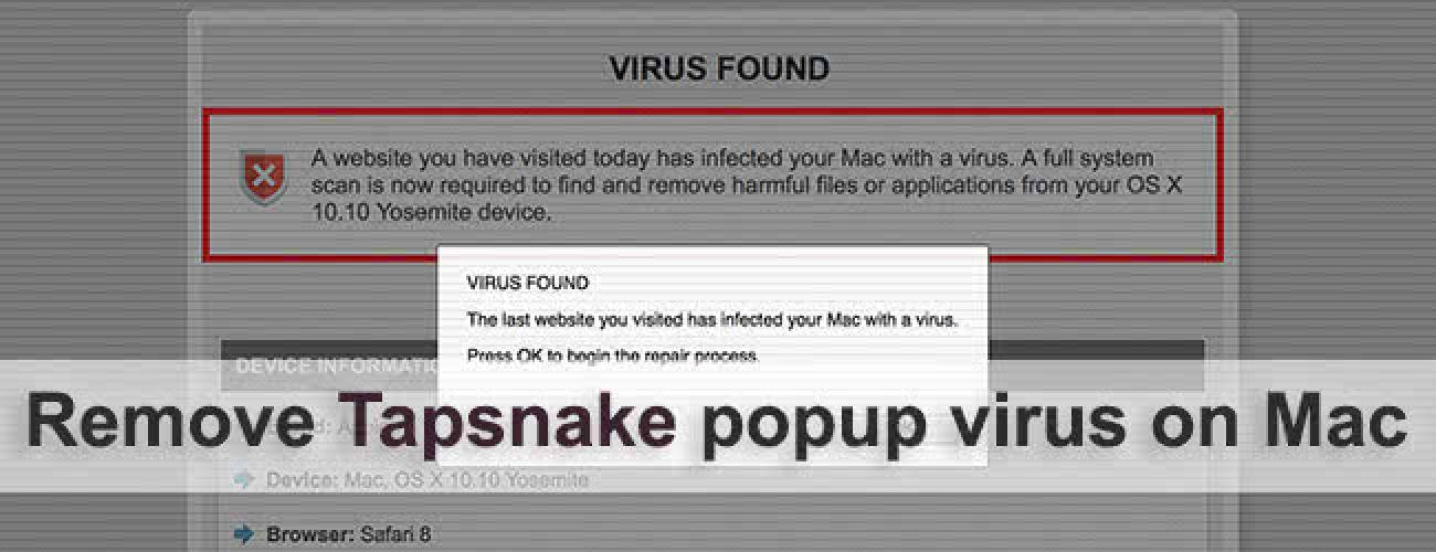 Tapsnake virus popup removal for Mac OS X