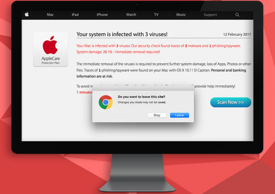"""Your Mac is infected with 3 viruses"""" popup alert removal"""