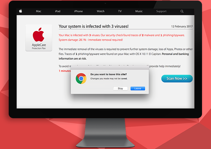"How to remove ""Your Mac is infected with 3 viruses"" popup warning alert"