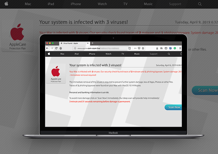 Remove apple.com-scan.live redirect virus from Mac