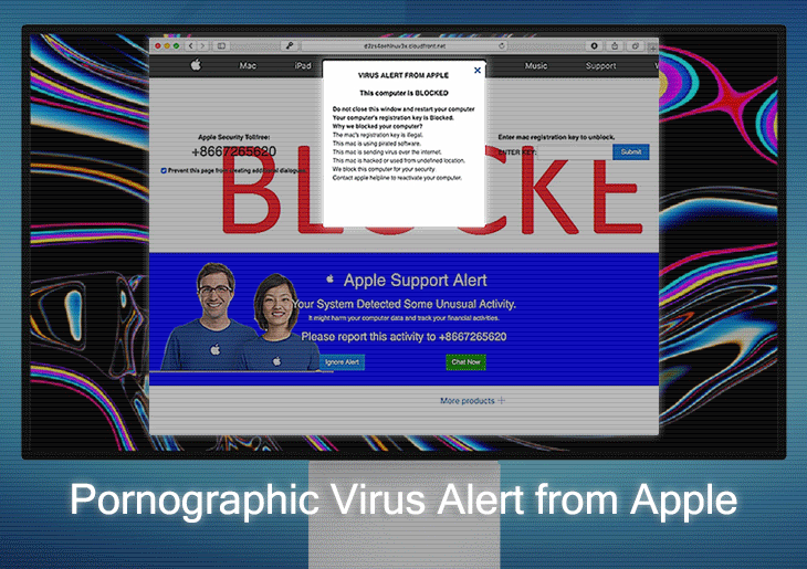"Remove ""Pornographic Virus Alert from Apple"" warning popups"
