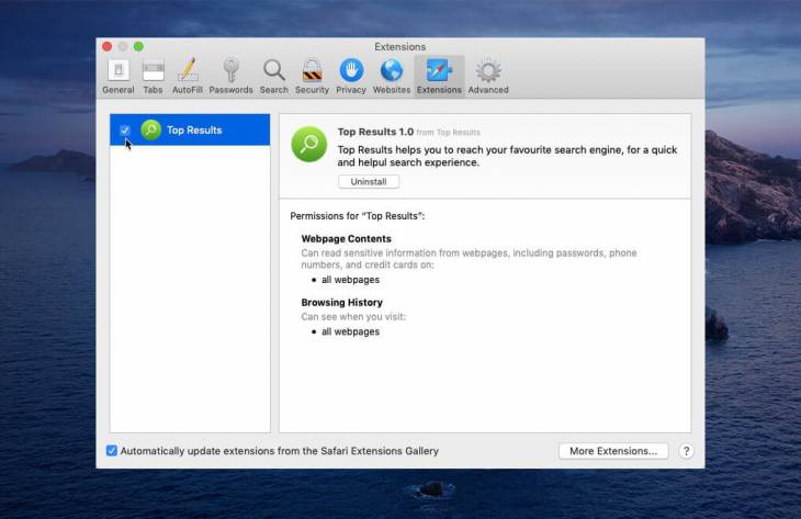 Top Results app virus removal from Mac
