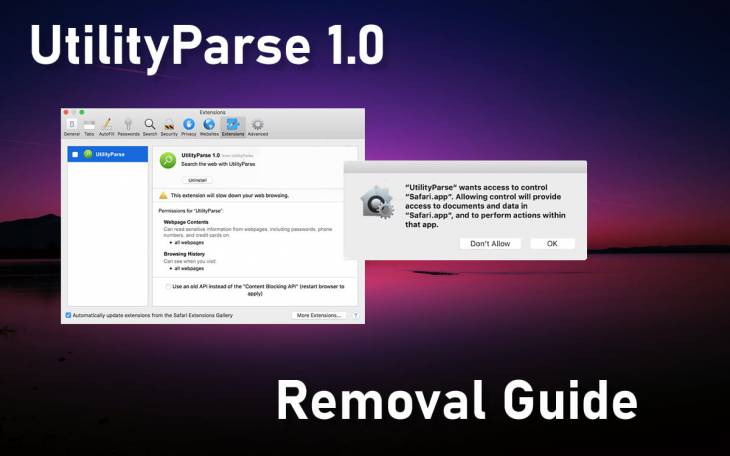 Remove UtilityParze (UtilityParse 1.0) virus from Mac