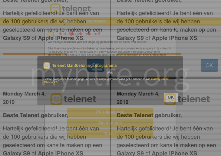 Remove myntre.org telenet spam from iPhone, iPad and Mac