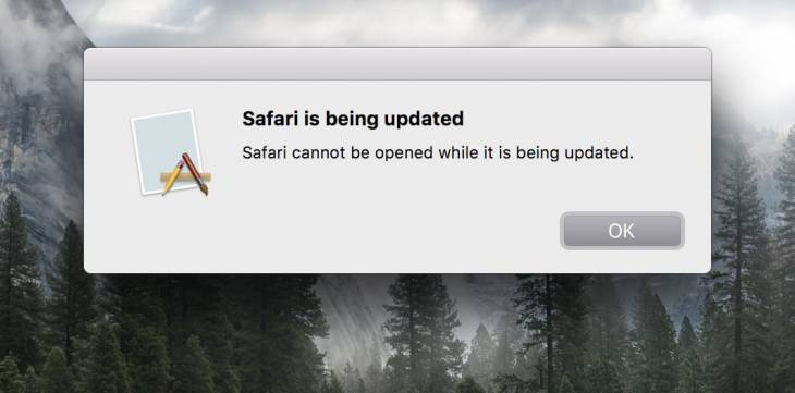 "Get rid of ""Safari cannot be opened while it is being updated"" popup error on Mac"